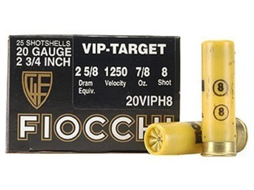 "Fiocchi Exacta Target Ammunition 20 Gauge 2-3/4"" 7/8 oz #8 Shot Box of 25"
