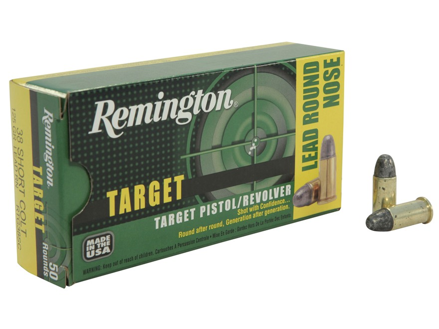 Remington Target Ammunition 38 Short Colt 125 Grain Lead Round Nose Box of 50