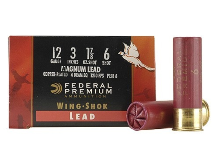 "Federal Premium Wing-Shok Ammunition 12 Gauge 3"" 1-7/8 oz Buffered #6 Copper Plated Shot Box of 25"