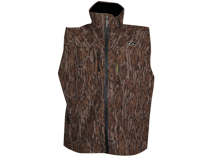 Drake Men's EST Waterproof Vest Polyester Mossy Oak Bottomland Camo Large