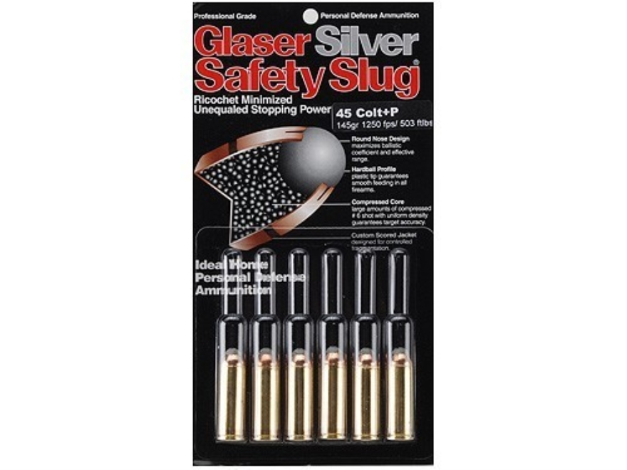 Glaser Silver Safety Slug Ammunition 45 Colt (Long Colt) +P 145 Grain Safety Slug Package of 6