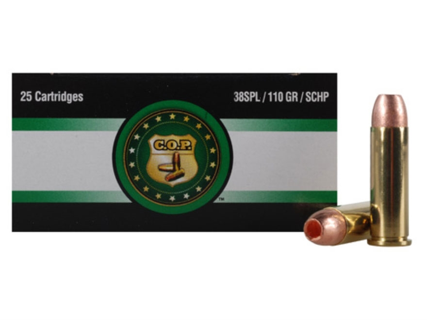 Copper Only Projectiles (C.O.P.) Ammunition 38 Special 110 Grain Solid Copper Hollow Point Lead-Free Box of 25
