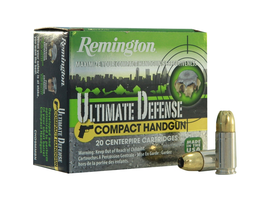 Remington Ultimate Defense Compact Handgun Ammunition 9mm Luger 124 Grain Brass Jacketed Hollow Point Box of 20