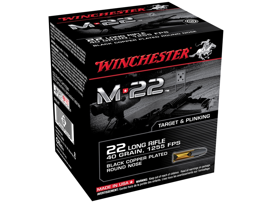 Winchester M-22 Ammunition 22 Long Rifle 40 Grain Black Plated Lead