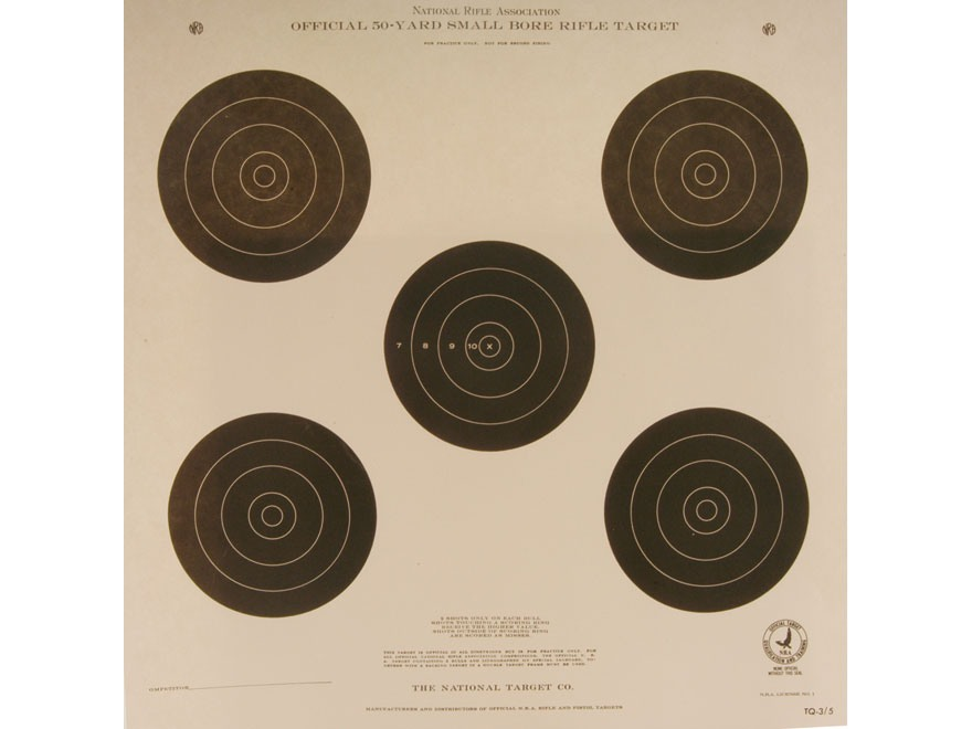 NRA Official Smallbore Rifle Training Targets TQ-3/5 50 Yard Paper Pack of 100