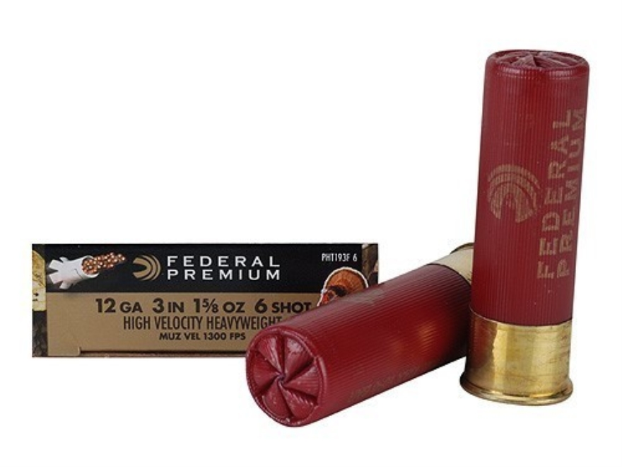 "Federal Premium Mag-Shok High Velocity Turkey Ammunition 12 Gauge 3"" 1-5/8 oz #6 Heavyweight Non-Toxic Shot Flitecontrol Wad Box of 5"
