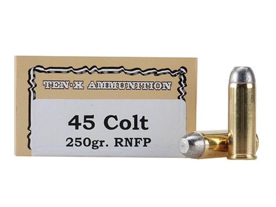 Ten-X Cowboy Ammunition 45 Colt (Long Colt) 250 Grain Lead Round Nose Flat Point Box of 50