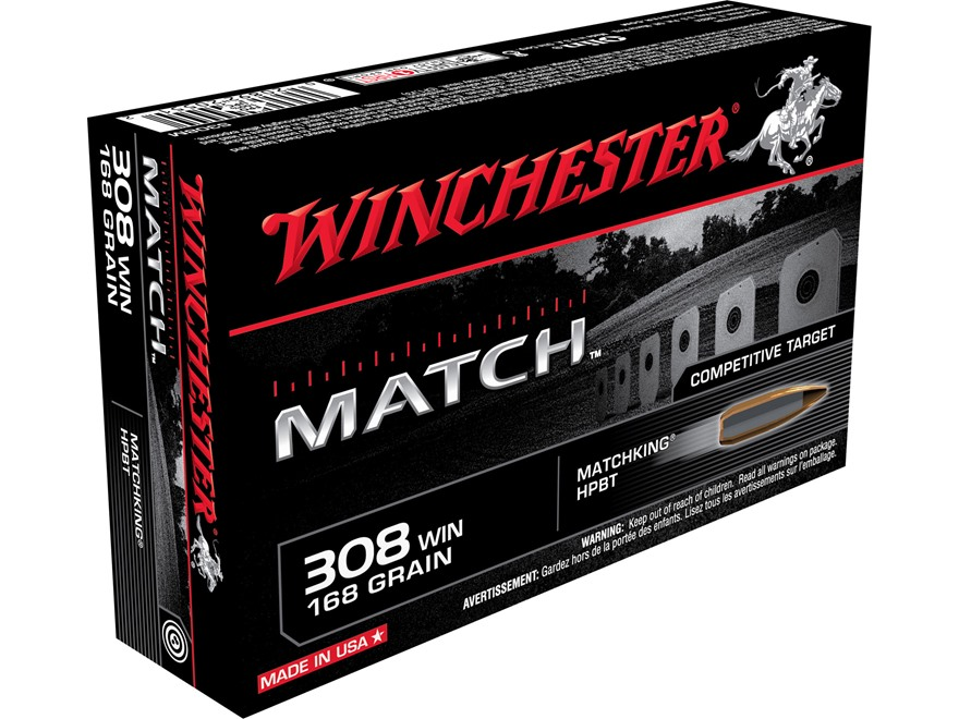 Winchester Ammunition 308 Winchester 168 Grain Hollow Point Boat Tail Match Box of 20