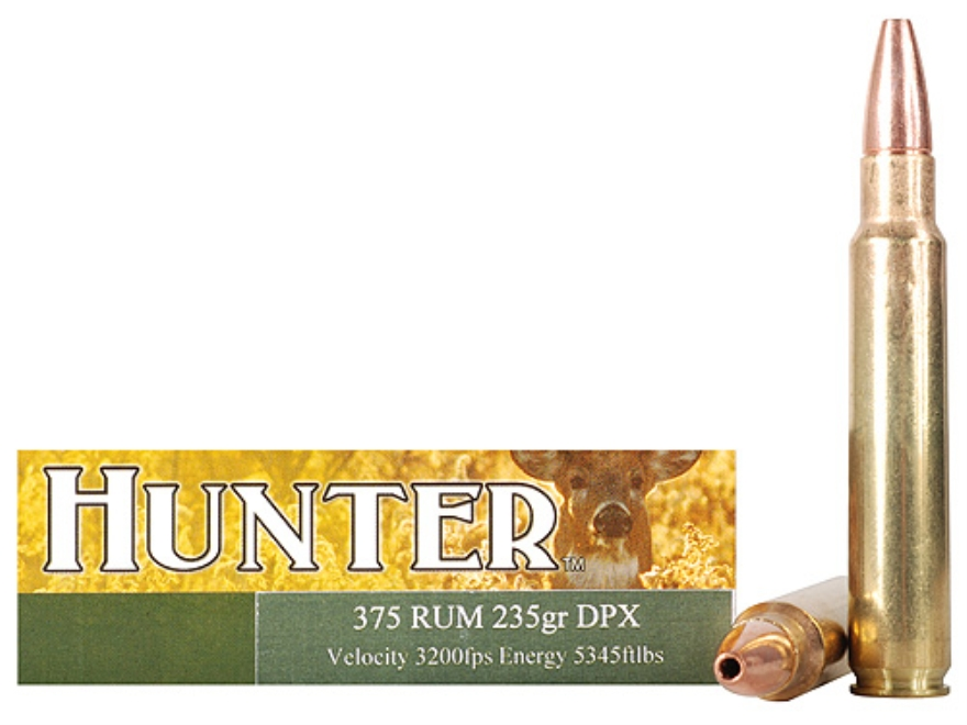 Cor-Bon DPX Hunter Ammunition 375 Remington Ultra Magnum 235 Grain DPX Hollow Point Lead-Free Box of 20