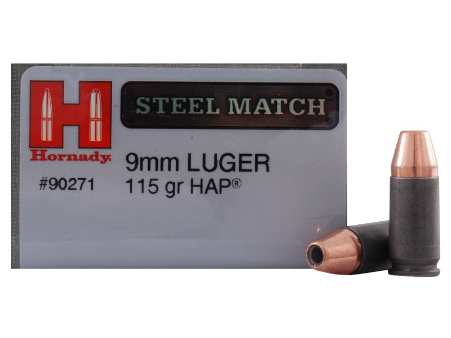 Hornady Steel Match Ammunition 9mm Luger 115 Grain Jacketed Hollow Point HAP Steel Case Box of 50