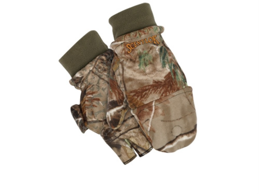 Scent-Lok Pop-Top Gloves Polyester Realtree AP Camo XL