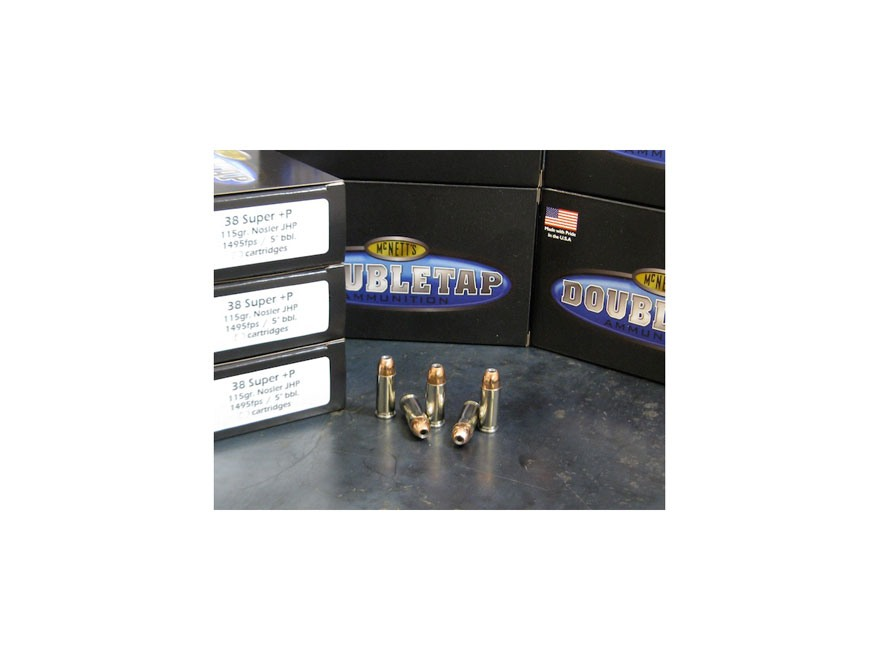 Doubletap Ammunition 38 Super +P 115 Grain Nosler Jacketed Hollow Point Box of 20