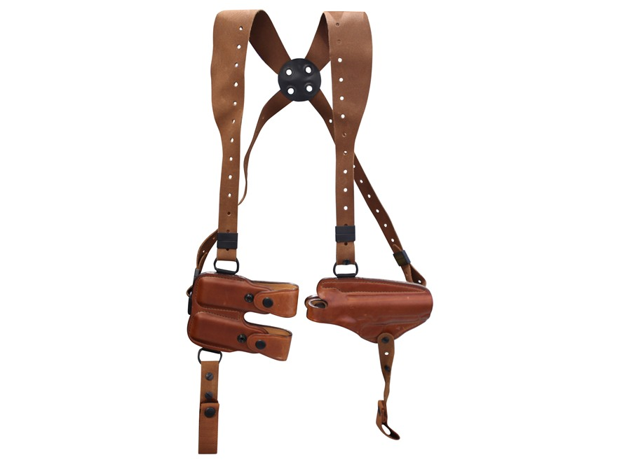 Bianchi X16 Agent X Shoulder Holster System 1911 Government, Browning Hi-Power Leather Tan