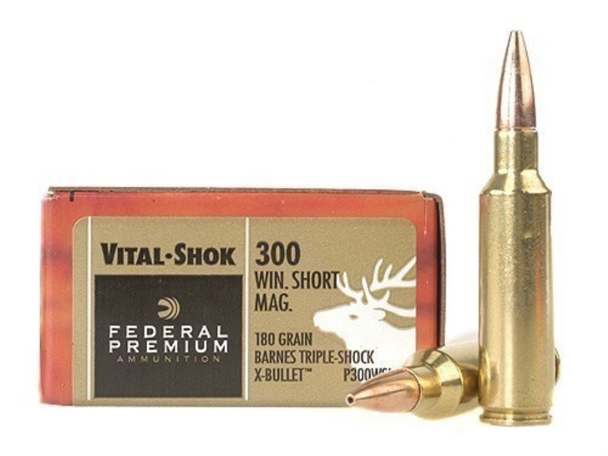 Federal Premium Vital-Shok Ammunition 300 Winchester Short Magnum (WSM) 180 Grain Barnes Triple-Shock X Bullet Hollow Point Lead-Free Box of 20