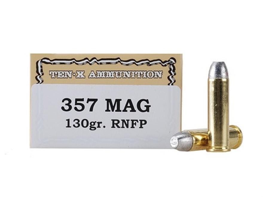 Ten-X Cowboy Ammunition 357 Magnum 130 Grain Lead Round Nose Flat Point Box of 50