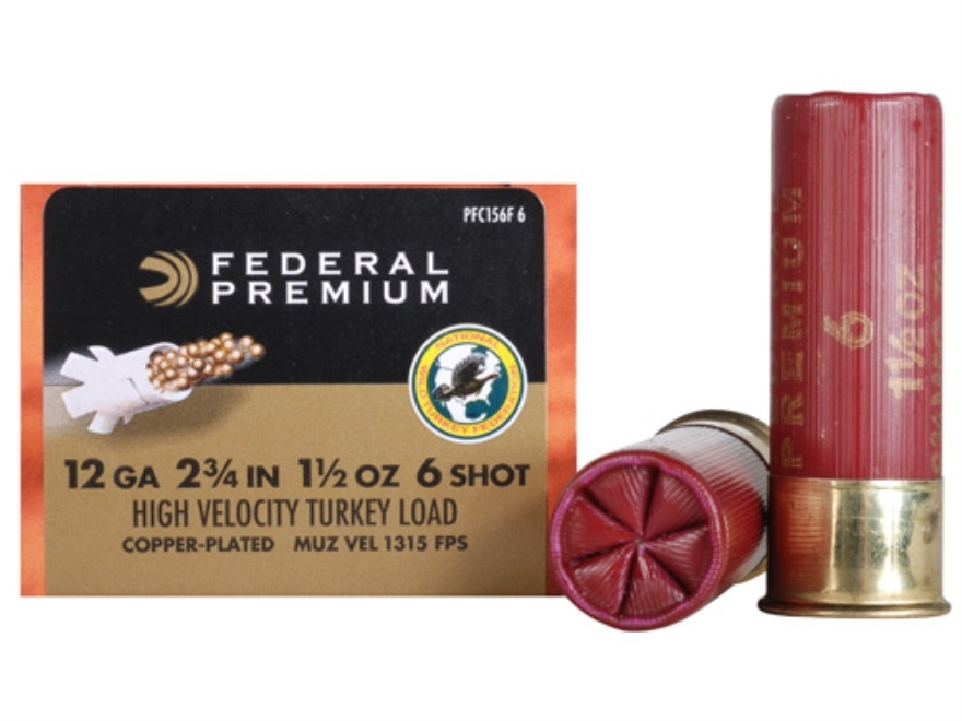 "Federal Premium Mag-Shok Turkey Ammunition 12 Gauge 2-3/4"" 1-1/2 oz #6 Copper Plated Shot High Velocity Box of 10"
