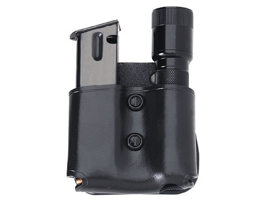 Galco M.F.P. Paddle Single Magazine and Flashlight Pouch Double Stack 9mm, 40 S&W Magazine Surefire G2, G3, 6P, Z2 Leather Black