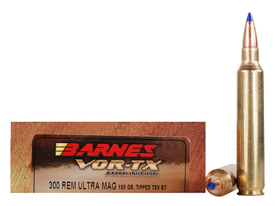 Barnes VOR-TX Ammunition 300 Remington Ultra Magnum 180 Grain Tipped Triple-Shock X Bullet Boat Tail Lead-Free Box of 20