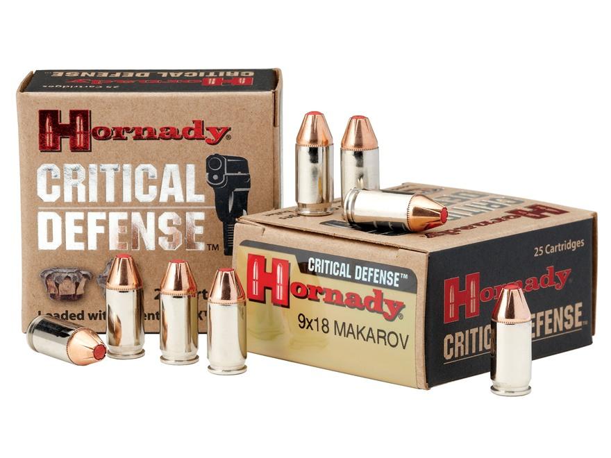 Hornady Critical Defense Ammunition 9x18mm (9mm Makarov) 95 Grain Flex Tip eXpanding Box of 25