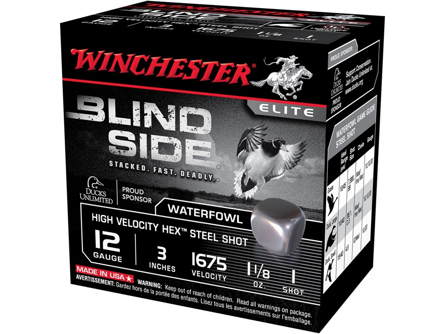 "Winchester Blind Side High Velocity Ammunition 12 Gauge 3"" 1-1/8 oz #1 Non-Toxic Steel Shot"