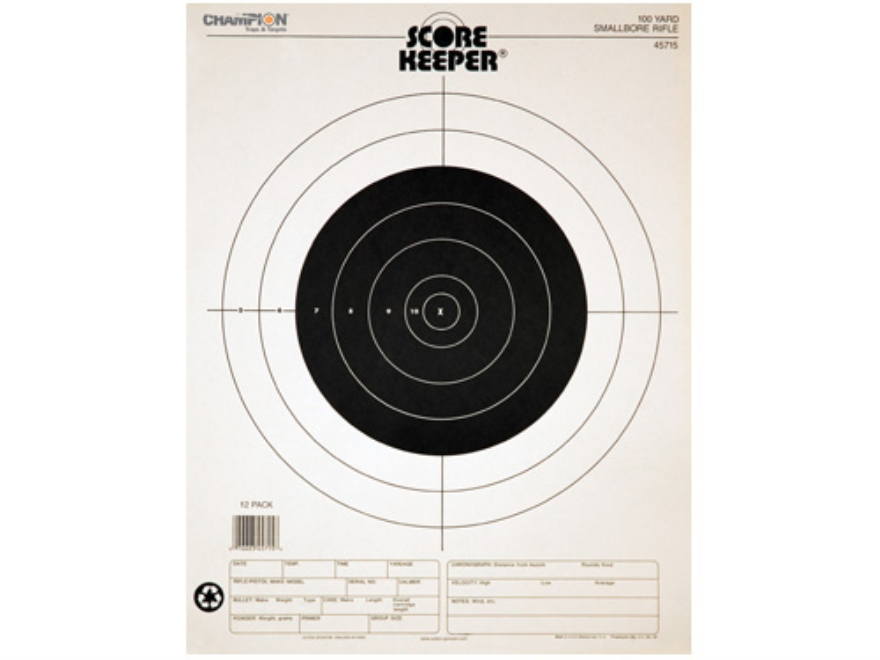 "Champion Score Keeper 100 Yard Small Bore Rifle Target 14"" x 18"" Paper Package of 12"