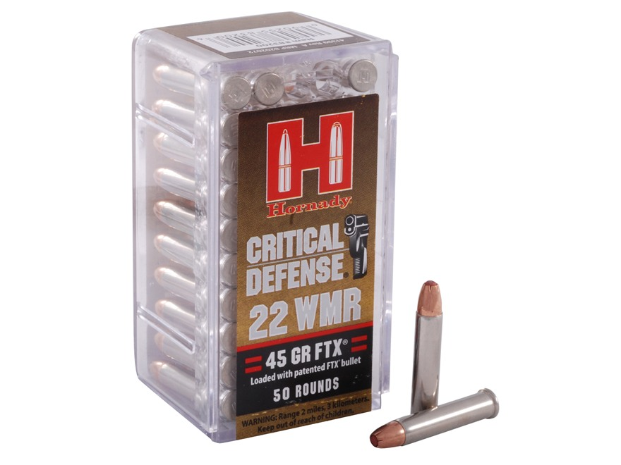 Hornady Critical Defense Ammunition 22 Winchester Magnum Rimfire (WMR) 45 Grain Flex Tip eXpanding Box of 50