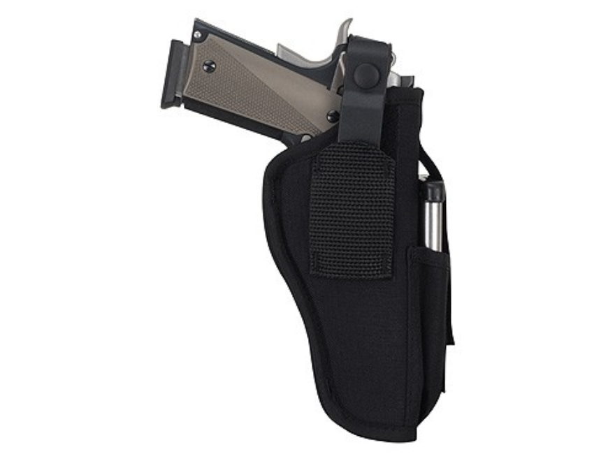 "Uncle Mike's Sidekick Ambidextrous Hip Holster with Magazine Pouch Large Frame Semi-Automatic 3-.75"" to 4.5"" Barrel Nylon Black"