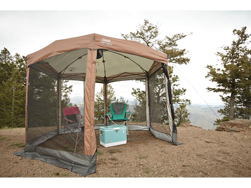 Coleman Screened Shelter : Coleman hexagon screened instant shelter orange tan