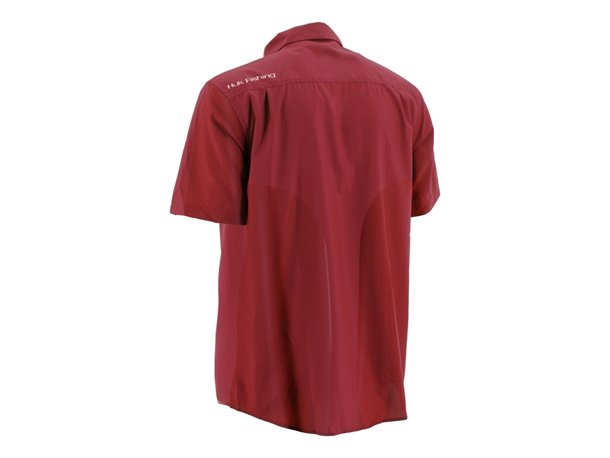 Huk men 39 s nxtlvl performance button up shirt short sleeve for Polyester button up shirt