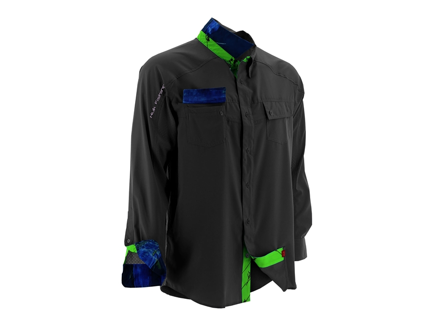 Huk men 39 s next level performance button up shirt long for Polyester button up shirt