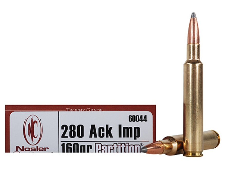 Nosler 280 Ackley Improved http://www.midwayusa.com/Product/343844/nosler-trophy-grade-ammunition-280-remington-ackley-improved-40-degree-shoulder-160-grain-partition-spitzer-box-of-20