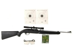 Remington AirMaster 77 Air Rifle 177 Caliber Black Synthetic Stock Silver Barrel with Crosman Airgun Scope 4x 20mm and Shooter's Kit