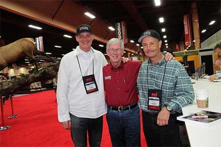 MidwayUSA's Larry Potterfield with Jim Burnworth and Ray Bunney of MidwayUSA's Choose Your Weapon at the 2012 SCI Convention (photo courtesy of SCI)