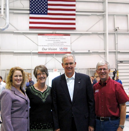 (Left to Right) Sara Potterfield, Brenda Potterfield, Governor Jay Nixon and Larry Potterfield at the MidwayUSA Share the Harvest Press Conference