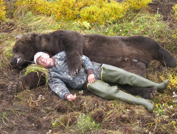 A good perspective of the size of a coastal brown bear.