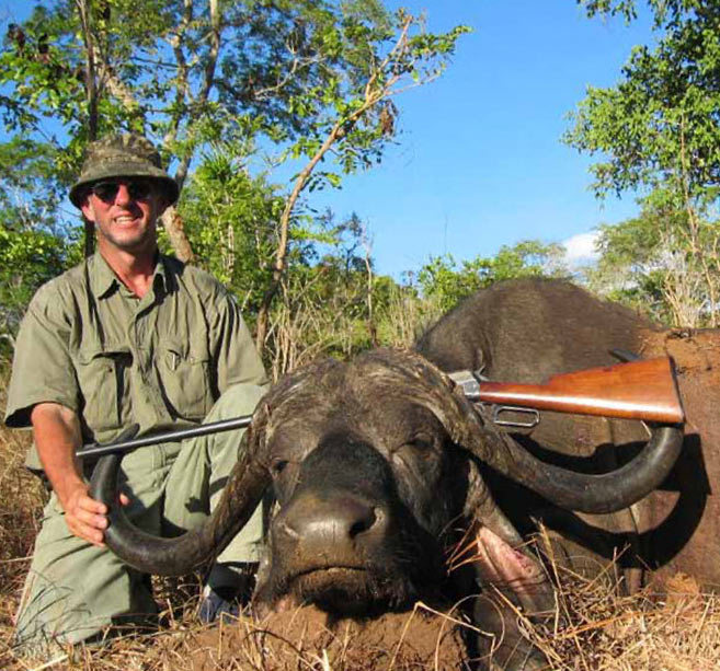 """Any mature buffalo bull is a trophy and over 40"""" in width is very special.  This Winchester 1895 is 42"""" end to end."""