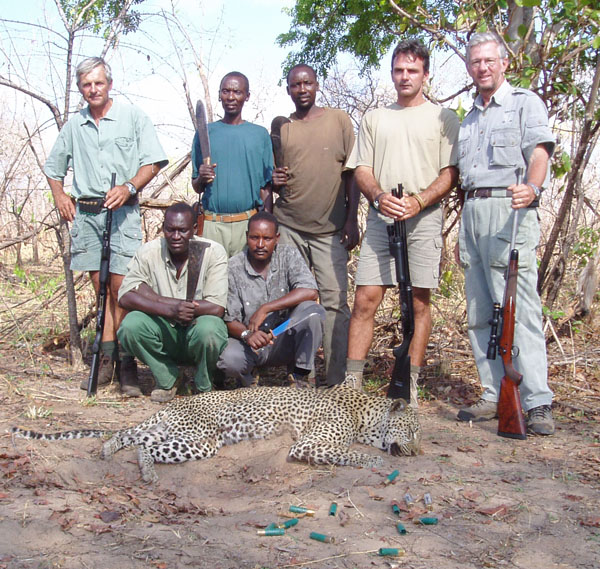Here's the leopard hunting crew.  I don't  deserve much of the credit for this trophy.  Note the empty shells in the foreground.