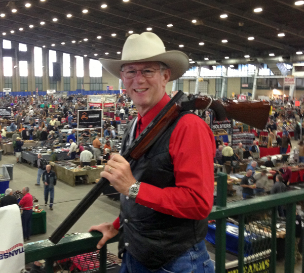 This is the 'big' Tulsa Gun Show.  I'm standing on the upper level (8 acres) with the lower level (4 acres) in the background, and holding a Winchester 101 in 28 gauge.