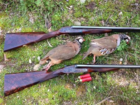 My guns were a matched pair of Purdeys, shown here with a brace of partridge.