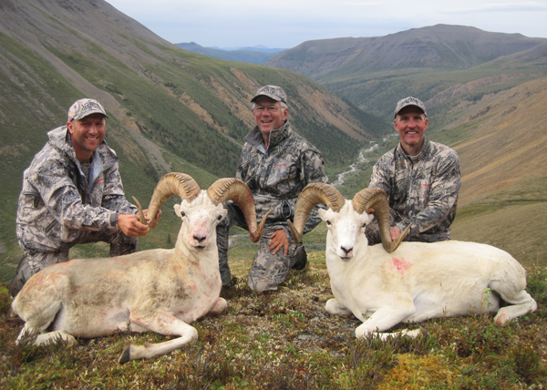 Jeff Larkin (left), myself and Matt Fleming with their nice rams.  We left the horses on the green flat above my head.