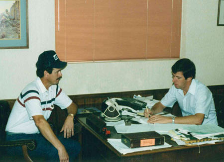 My friend and college classmate Ralph Twellman (left) of Built-Rite Buildings, managed all of the additions to the original building on U.S. Highway 40.