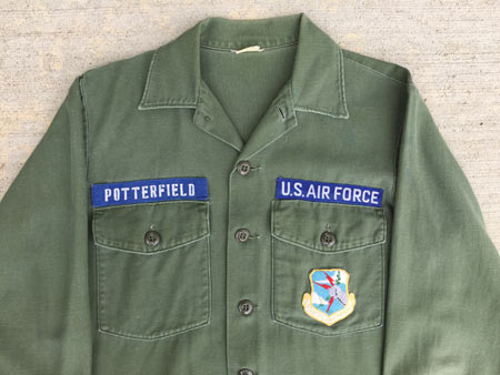 One of the fatigue shirts they issued to me in September, 1971.  The Strategic Air Command (SAC) patch was issued at Blytheville AFB, Arkansas.