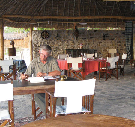 This picture of me in the lounge and dining area was taken on one of those rare days when we were back in camp for lunch.