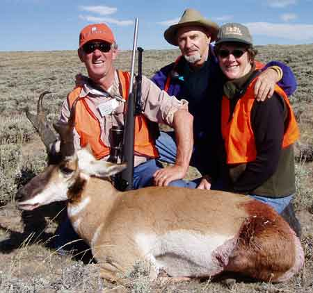 Larry, Bert Klineburger and Brenda, with nice pronghorn antelope.  Rifle is a Remington 700 in 300 Win Mag.