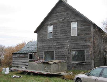 The 'Lodge' at Newdale Duck Club; abandoned in 1977, this old farmhouse is where we stayed on the hunting trip.
