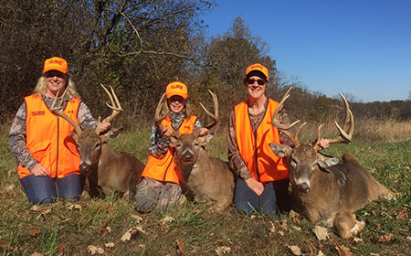 Possibly a unique picture; three generations of lady deer hunters present their bucks from the opening weekend.