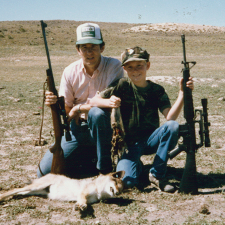 Russell and I were hunting prairie dogs in South Dakota and heard this coyote howling from over a small hill. We found a hide and called him close enough to shoot. (1985)
