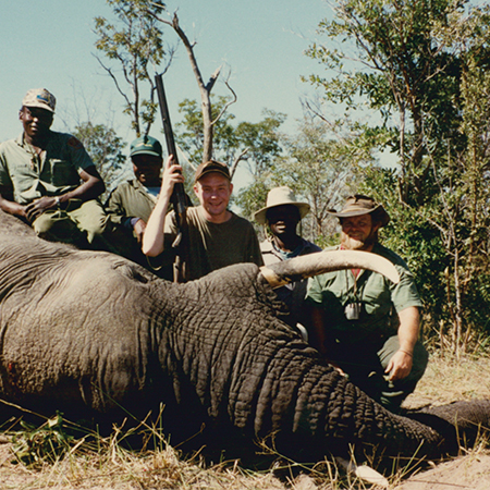 Son Russell, with his first bull elephant; a nice trophy. Hunting elephant is hard work, and so is skinning one.