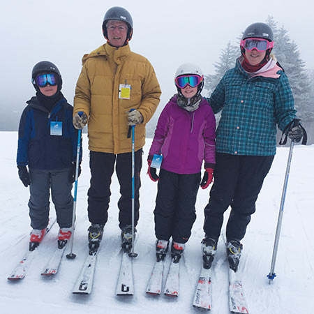 Grandson Jay is on the left and granddaughter Eliza and her mother Sara on the right. Skiing can be a family affair.