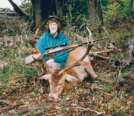 Brenda with her red stag, and a nice pose.